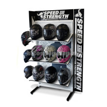 Produtos de proteção Loja de varejo 3-Layer 2-Way Metal Floor Motorcycle Safety Helmet Display Rack