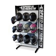 Защитные Продукты Розничный Магазин 3-Слой 2-Полосная Металлический Пол Безопасности Мотоциклов Шлем Дисплей Стойки