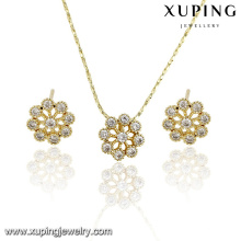 63898 Alibaba wholesale 14k gold plated earrings and pendant set jewelry gold