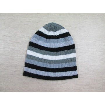 children double layers black and grey strip knitted hats