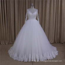 Vestido de boda de encaje de manga larga cuello alto