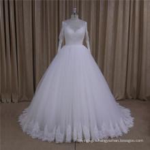 High Neck Long Sleeve Lace Wedding Dress