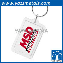 Promotion metal fashion keychains with rectangular photo