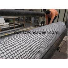 Composto de geogrelha de fibra de vidro com geotêxtil