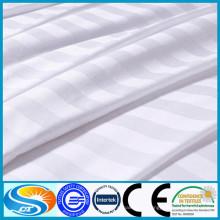 100% algodão de alta qualidade cetim listra conjunto de cama branca