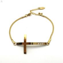 Birthday Present Stainless Steel Zircon Snake Chain Jesus Cross Bracelet