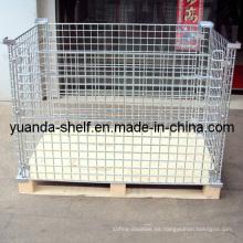 Jaula de malla plegable de almacenamiento de malla de alambre de almacén
