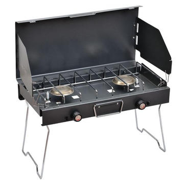 Portable 2 Burner Camping Gas Stove, Outdoor Gas BBQ