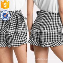 Tie Waist Frill Trim Plaid Shorts Manufacture Wholesale Fashion Women Apparel (TA3004B)
