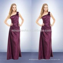 Hot Sale Wine Long Robe de demoiselle d'honneur 2014 Robe de soirée satinée en satin à une épaule avec plis et fleur asymétriques NB0733