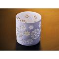 Titular de vela de cerámica blanca mate de la luz del té