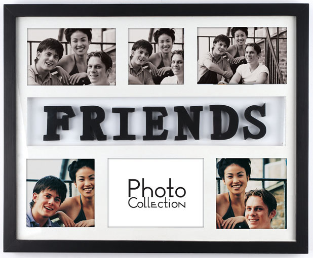 6 opening wooden multi photo frame with letters friends