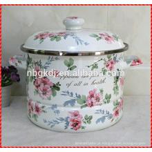 Vaso de panela de esmalte russo flor ótima com alça dupla