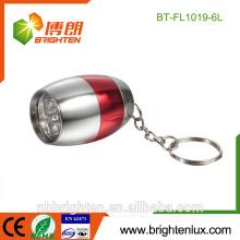 Venta al por mayor de la fábrica en forma de bulbo en forma de Matal Logo de encargo de precio bajo 6 Led de aluminio de aluminio mini linterna con llavero