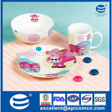 cute design ceramic children set with customized design BC8002 dishes ceramic with bowl