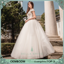 Simple elegant wedding dresses beaded princess ball gown wedding dresses puffy wedding gown for philippines