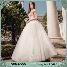 Vestidos de noiva simples e elegantes com contas de noiva de princesa vestido de noiva Vestido de noiva inchado para filipinas