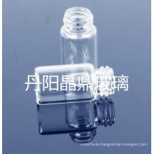 Klar geformte Mini Röhrenglas Flasche geschraubt