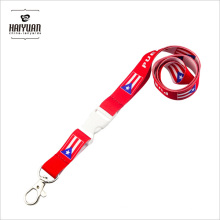 Customized Flag Lanyard in Sublimation Printing with White Buckle