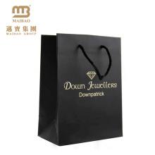 Гуанчжоу Изготовленный На Заказ Логос Хорошая Печать Роскошные Ювелирные Магазины Декоративных Черный Матовый Розничная Бумажные Мешки Подарка