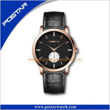 Crocodile Leather Domed Glass Japan Mov′t Fashion Watch