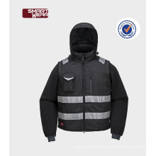 Mens Abnehmbare Ärmel Uniform Winterjacke mit 3m Reflexfolie