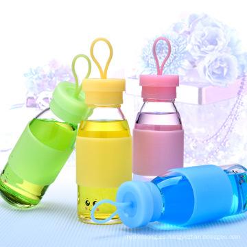 Botella de agua infantil de promoción con funda de silicona