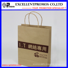 Logo Printed Natural Kraft Shopping Bag (EP-FP55515)