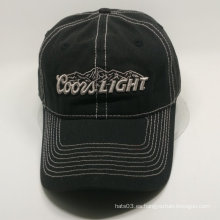 3D bordado negro gorra de béisbol en la diapositiva D-anillo de metal hebilla