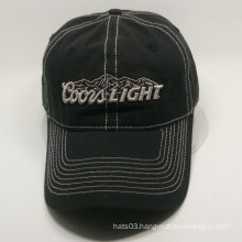 3D embroidery black baseball cap in slide D-Ring metal buckle