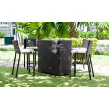 High End Hot Sales Design Poly Synthetik Harz Rattan Bar Set für Outdoor Garten Patio Wicker Möbel