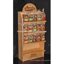Panadería Tienda al por menor Pastelería Comercial Rack 4-Shelf Pisos Pan de madera rústica Display Stand A la venta