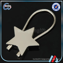 star shape nickel plated steel wire keychain