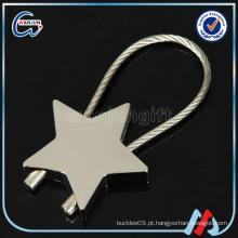 Estrela, forma, niquelado, aço, fio, keychain