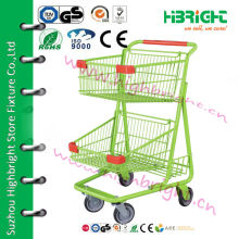 supermarket double basket shopping cart