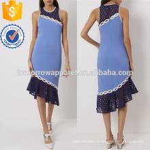 Гонщик синий аппликация назад платье OEM и ODM Производство Оптовая продажа женской одежды (TA7123D)
