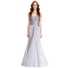 Starzz 2016 Ladies Strapless Sequins Chiffon Long Grey Evening Dress 8 Size US 2~16 ST000119-1