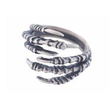 Anillo de plata esterlina 925 con forma de garra afilada Modelado de color retro con semicírculo