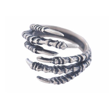 925 Sterling Silber Männlichen Ring Scharfe Klaue Modellierung Retro Farbe Halbkreis