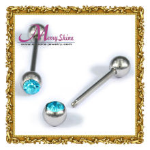 Oem / Odm Tongue Barbel / Nipple Ring Industrial Piercing Body Jewelry With Sliver Ball