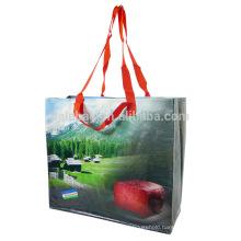 Supermarket reusable pp woven shopping bags printing