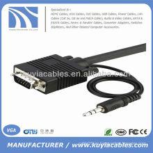 10 FT SVGA VGA Portátil al cable del monitor de la TV con el audio 10FT
