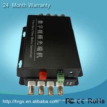 Transmissor e receptor de vídeo de fibra óptica digital de 4 canais hd-sdi