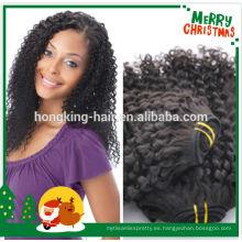 rizado rizado natural de color negro rizado de cabello humano brasileño