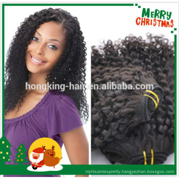natural black color kinky curl brazilian human hair weaving