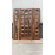China puertas de madera maciza fábrica mejor precio entrada puerta de madera maciza con rejilla hecha de nogal negro