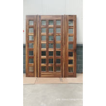 china solid wood doors factory best price entrance solid wood door with grille made of black walnut