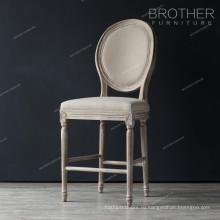 Стиль кантри античный дуб деревянный стул обитый бархат бар стул табурет