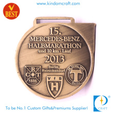 A forma de alta qualidade personalizou a medalha da maratona do metal 3D 10km com carimbo de cobre