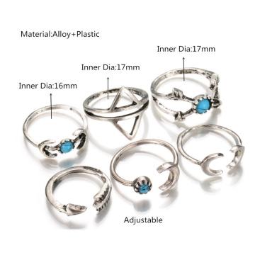 Народном стиле ретро геометрические бирюзовый Луны стрелки совместной кольцо